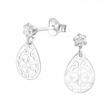 Hanging Flower - 925 Sterling Silver Ear Studs with Zirconia stones A4S39213