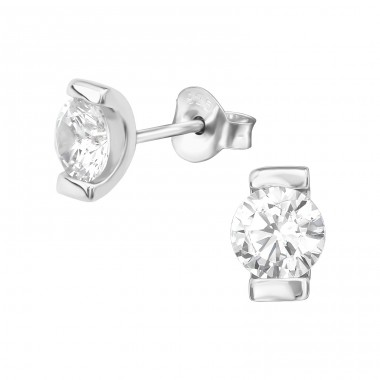 Single Stone - 925 Sterling Silver Ear Studs with Zirconia stones A4S39384