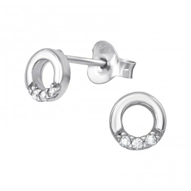 Circle - 925 Sterling Silver Ear Studs with Zirconia stones A4S39389