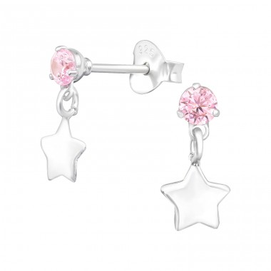 Hanging Star - 925 Sterling Silver Ear Studs with Zirconia stones A4S39405
