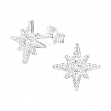 Star - 925 Sterling Silver Ear Studs with Zirconia stones A4S39429