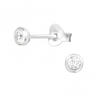 Round - 925 Sterling Silver Ear Studs with Zirconia stones A4S39456