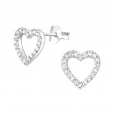 Heart - 925 Sterling Silver Ear Studs with Zirconia stones A4S3957
