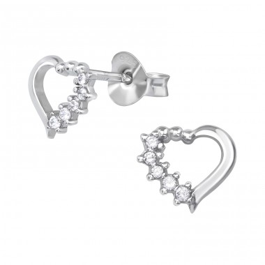 Heart - 925 Sterling Silver Ear Studs with Zirconia stones A4S39649