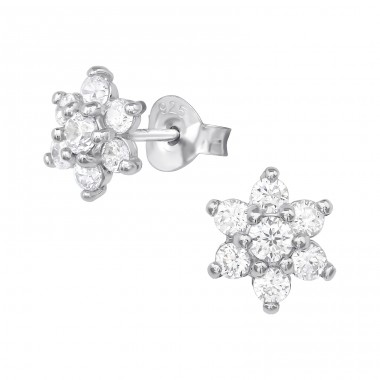 Flower - 925 Sterling Silver Ear Studs with Zirconia stones A4S39653