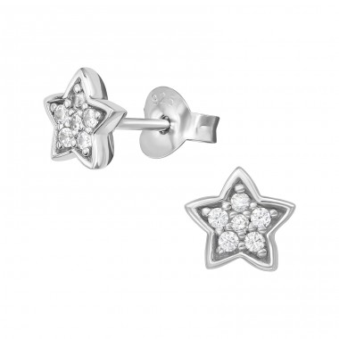 Star - 925 Sterling Silver Ear Studs with Zirconia stones A4S39704