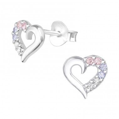 Heart - 925 Sterling Silver Ear Studs with Zirconia stones A4S39816