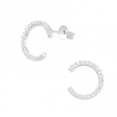Half Hoop - 925 Sterling Silver Ear Studs with Zirconia stones A4S39869