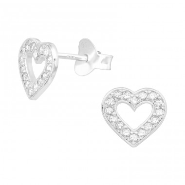 Heart - 925 Sterling Silver Ear Studs with Zirconia stones A4S39930
