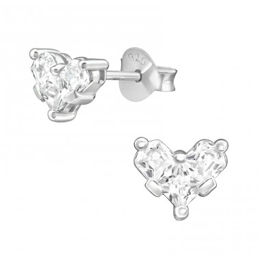 Heart - 925 Sterling Silver Ear Studs with Zirconia stones A4S39955