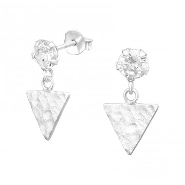 Triangle - 925 Sterling Silver Ear Studs with Zirconia stones A4S39989