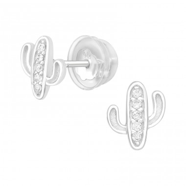 Cactus - 925 Sterling Silver Ear Studs with Zirconia stones A4S40044