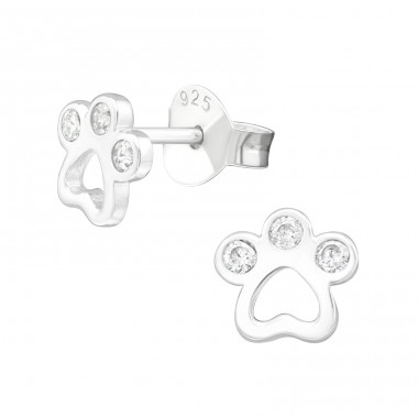 Paw Print - 925 Sterling Silver Ear Studs with Zirconia stones A4S40045