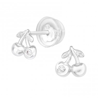 Cherry - 925 Sterling Silver Ear Studs with Zirconia stones A4S40046