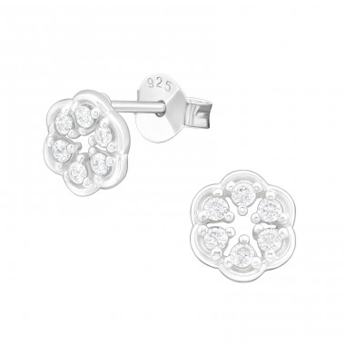 Flower - 925 Sterling Silver Ear Studs with Zirconia stones A4S40048