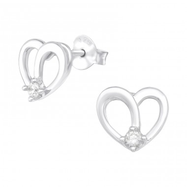 Heart - 925 Sterling Silver Ear Studs with Zirconia stones A4S40054