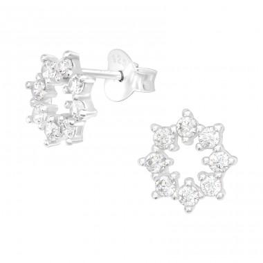 Sparking star - 925 Sterling Silver Ear Studs With Zirconia Stones A4S40056