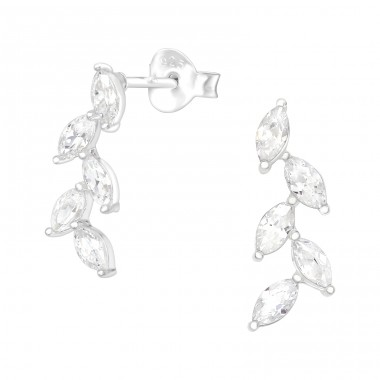 Olive Leaf - 925 Sterling Silver Ear Studs with Zirconia stones A4S40064