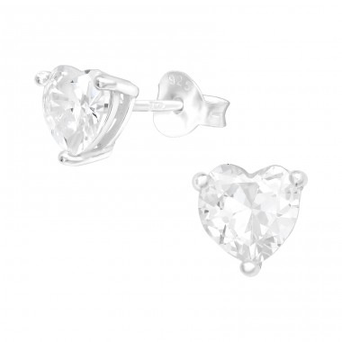 Heart - 925 Sterling Silver Ear Studs with Zirconia stones A4S40065