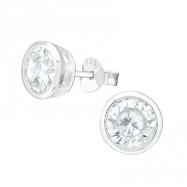 Round - 925 Sterling Silver Ear Studs with Zirconia stones A4S40067