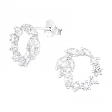 Sparkling wreath - 925 Sterling Silver Ear Studs With Zirconia Stones A4S40075