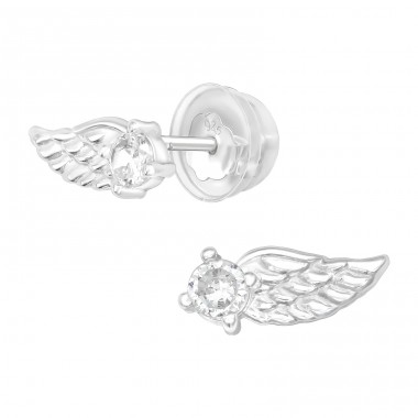 Wing - 925 Sterling Silver Ear Studs with Zirconia stones A4S40076