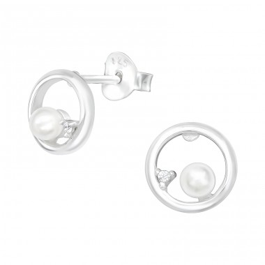 Circle - 925 Sterling Silver Ear Studs with Zirconia stones A4S40078
