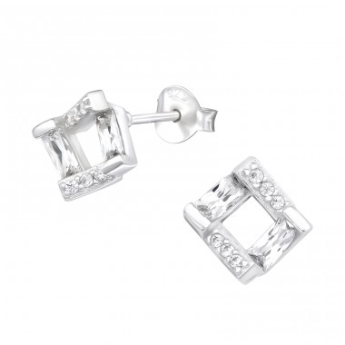 Square - 925 Sterling Silver Ear Studs with Zirconia stones A4S40081
