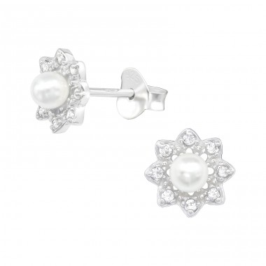 Flower - 925 Sterling Silver Ear Studs with Zirconia stones A4S40082