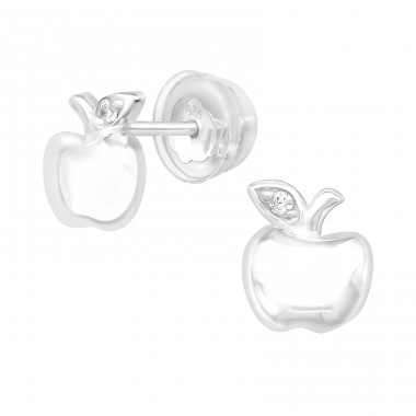 Apple - 925 Sterling Silver Ear Studs with Zirconia stones A4S40083
