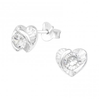 Heart with Zirconia in the center - 925 Sterling Silver Ear Studs With Zirconia Stones A4S40086