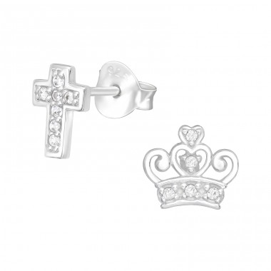 Cross & Crown - 925 Sterling Silver Ear Studs with Zirconia stones A4S40089