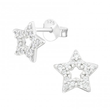Star - 925 Sterling Silver Ear Studs with Zirconia stones A4S40091