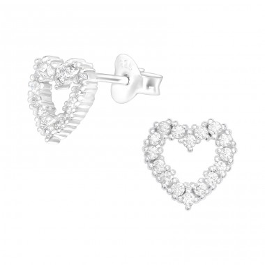 Heart - 925 Sterling Silver Ear Studs with Zirconia stones A4S40092