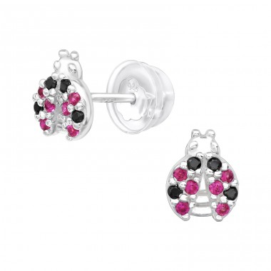 Ladybug - 925 Sterling Silver Ear Studs with Zirconia stones A4S40093