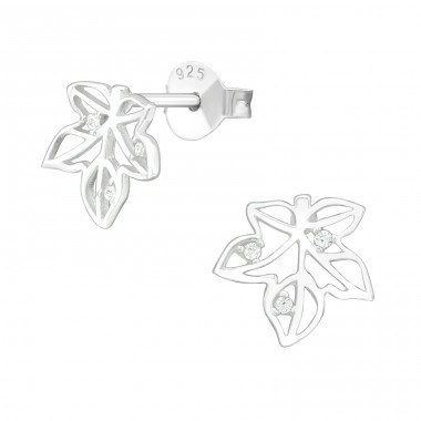 Leaf - 925 Sterling Silver Ear Studs with Zirconia stones A4S40094