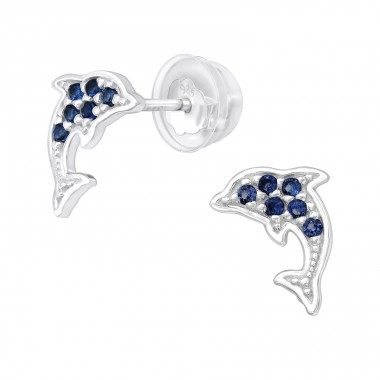 Dolphin - 925 Sterling Silver Ear Studs with Zirconia stones A4S40096
