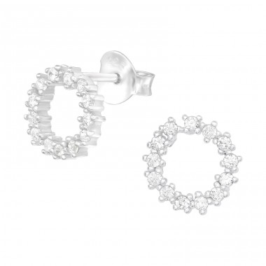 Sparking circle - 925 Sterling Silver Ear Studs With Zirconia Stones A4S40097