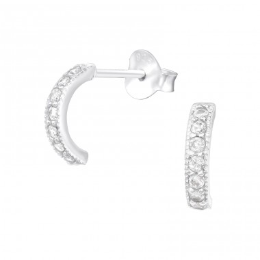 Curved Bar - 925 Sterling Silver Ear Studs with Zirconia stones A4S40098