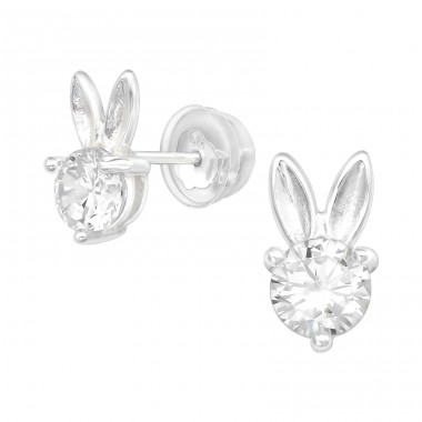 Rabbit - 925 Sterling Silver Ear Studs with Zirconia stones A4S40099