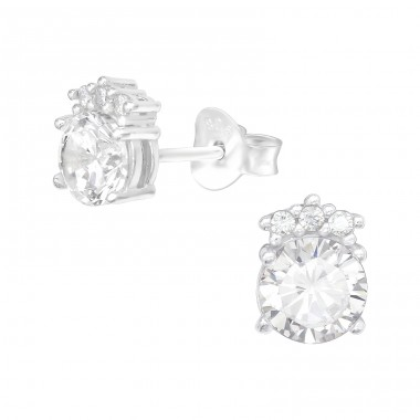 Round - 925 Sterling Silver Ear Studs with Zirconia stones A4S40100