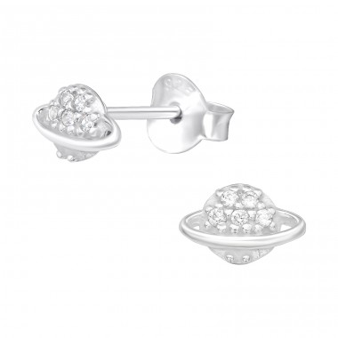 Saturn planet - 925 Sterling Silver Ear Studs With Zirconia Stones A4S40102