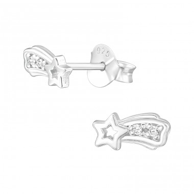 Shooting Star - 925 Sterling Silver Ear Studs with Zirconia stones A4S40104