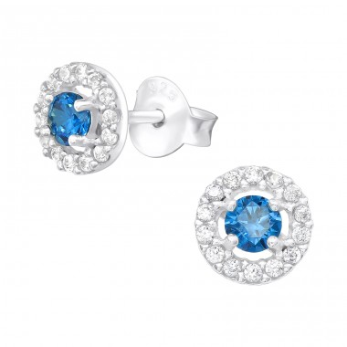 Round eye - 925 Sterling Silver Ear Studs With Zirconia Stones A4S40105