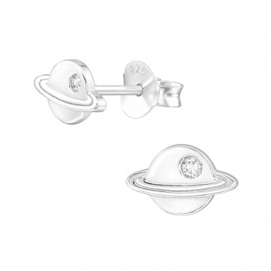 Saturn planet - 925 Sterling Silver Ear Studs With Zirconia Stones A4S40106