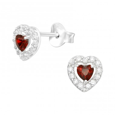 Heart - 925 Sterling Silver Ear Studs with Zirconia stones A4S40108