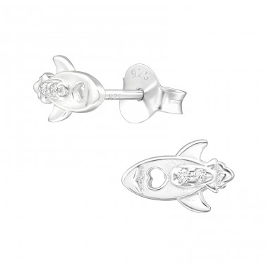 Rocket - 925 Sterling Silver Ear Studs with Zirconia stones A4S40109