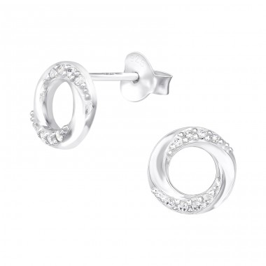Twisted shinny circle - 925 Sterling Silver Ear Studs With Zirconia Stones A4S40110