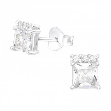 Square - 925 Sterling Silver Ear Studs with Zirconia stones A4S40112
