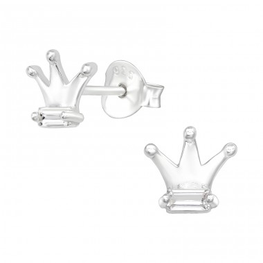 Crown - 925 Sterling Silver Ear Studs with Zirconia stones A4S40113